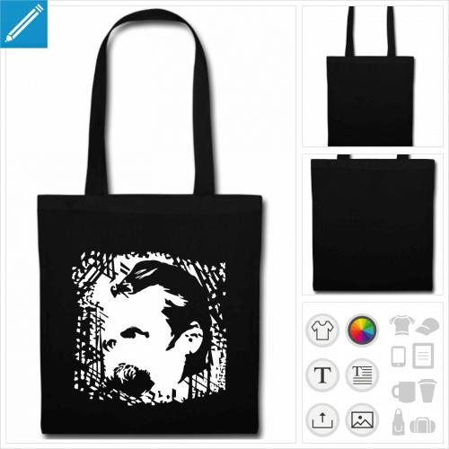 sac tote bag noir Nietzsche à imprimer en ligne
