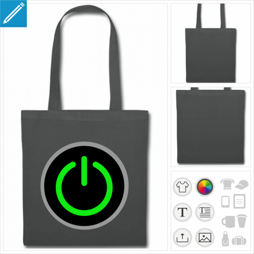 tote bag gris gamer personnalisable, impression à l'unité