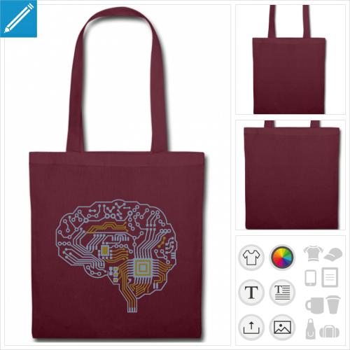 Tote bag vert personnalisé avec un motif geek et robotique, cerveau dessiné en puce électronique et circuit imprimé.