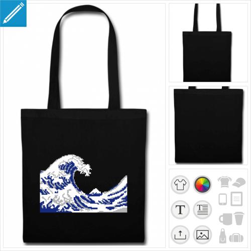 tote bag bleu hokusai geek à créer en ligne