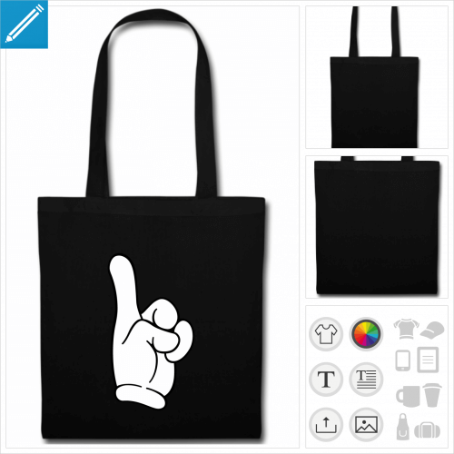 sac tote bag noir doigt tendu personnalisable