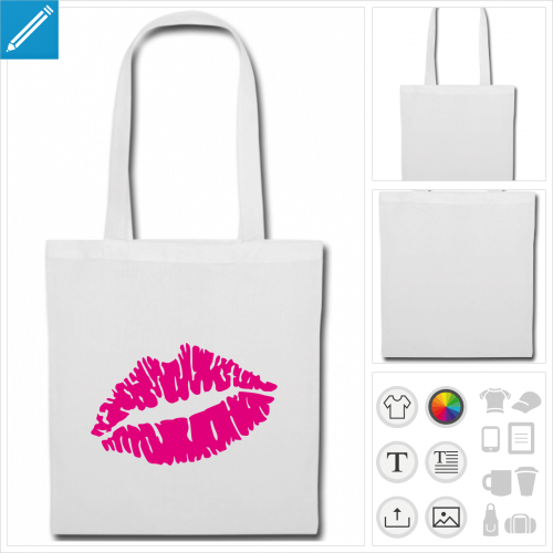 sac de courses kiss à personnaliser, impression unique