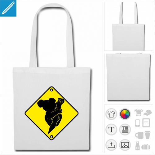 sac tissu koala à imprimer en ligne