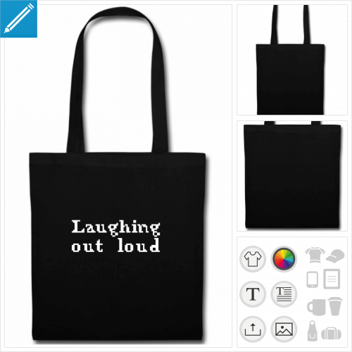 sac tote bag noir citation lol personnalisable, impression à l'unité