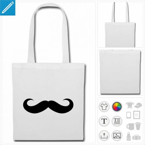 sac tissu moustache à créer en ligne