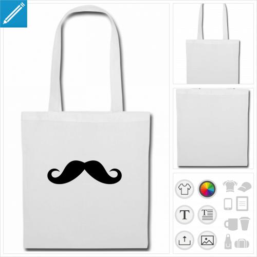 sac de courses moustache à personnaliser