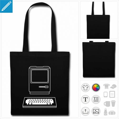 sac tissu noir ordinateur à personnaliser et imprimer en ligne