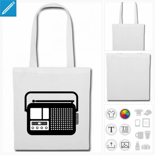 tote bag radio à imprimer en ligne