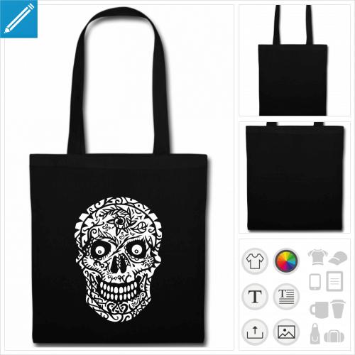 sac tissu noir tête de mort fleurs à personnaliser en ligne