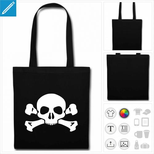 sac tote bag noir tête de mort à créer en ligne