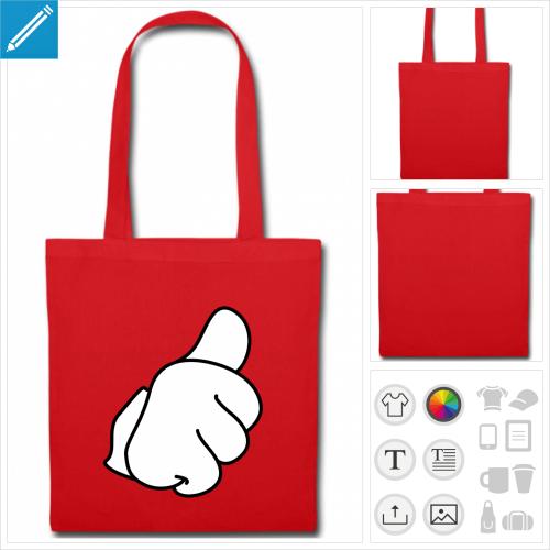 sac tissu thumbs à personnaliser en ligne