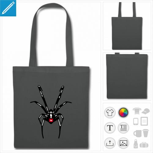 tote bag gris araignée à créer soi-même