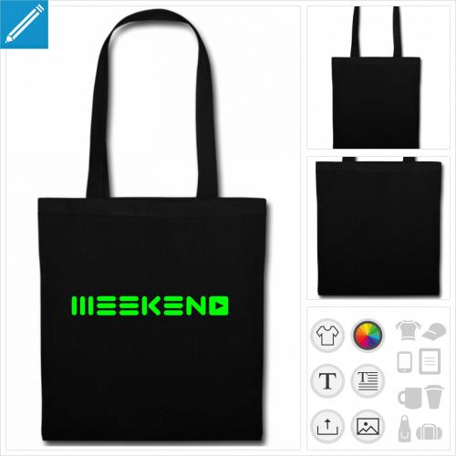 sac tote bag noir party à créer en ligne