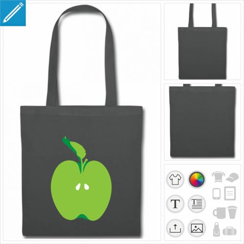 tote bag gris moitié de pomme à personnaliser en ligne
