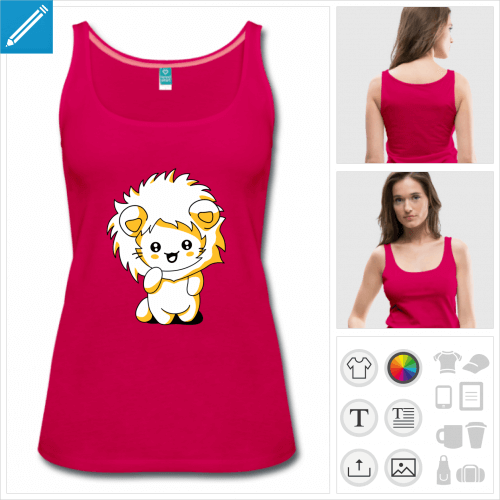 débardeur rose chaton lion à créer soi-même
