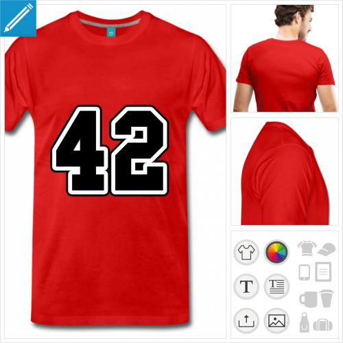 T-shirt 42 écrit en typo sport à imprimer en ligne.