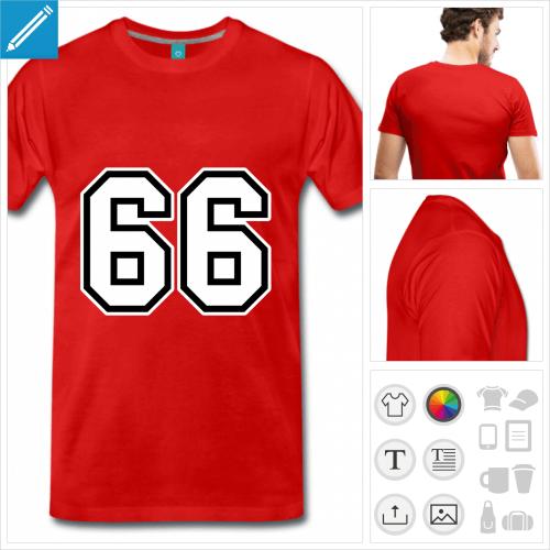 T-shirt 66 en typo sport, maillot à personnaliser en ligne.