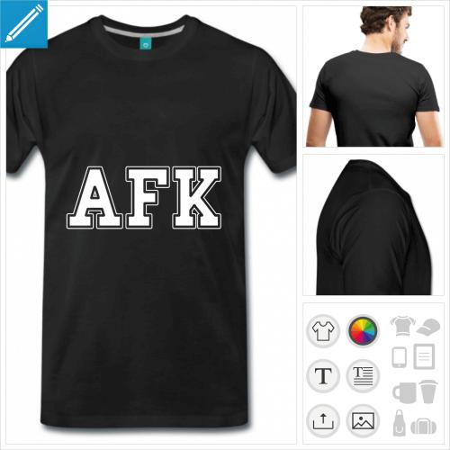t-shirt basique afk à personnaliser, impression unique