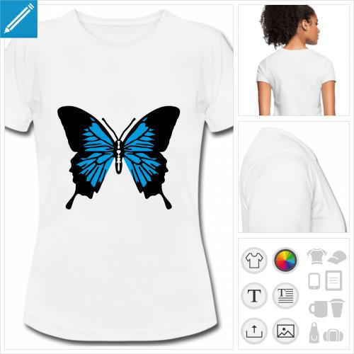 t-shirt basique ailes de papillon à personnaliser, impression unique