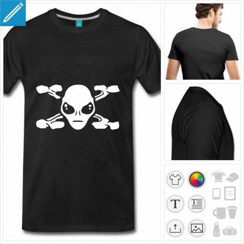 T-shirt Alien, tête d'alien simple entourée d'os en X formant le X de The X Files.