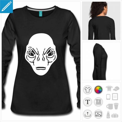 t-shirt manches longues alien à personnaliser, impression unique