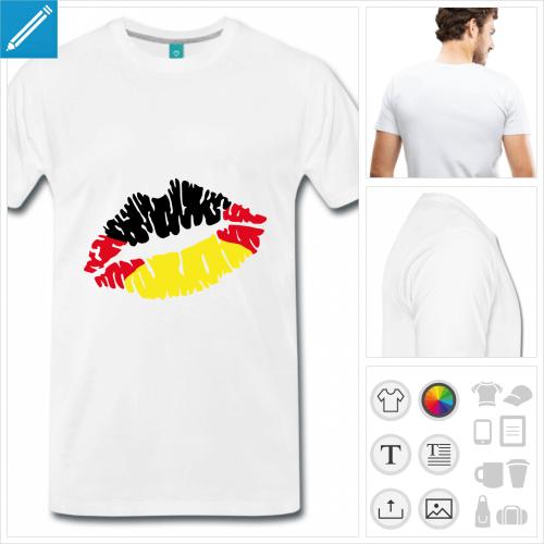 t-shirt simple kiss Allemagne personnalisable, impression à l'unité