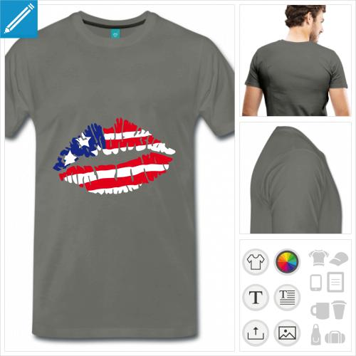 T-shirt America, kiss usa, drapeau américain peint sur des lèvres personnalisables à impriemr en ligne.