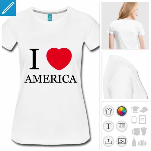t-shirt femme USA personnalisable, impression à l'unité