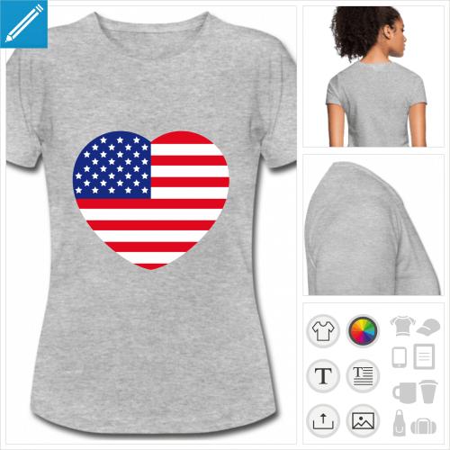 t-shirt manches courtes I love usa à personnaliser et imprimer en ligne