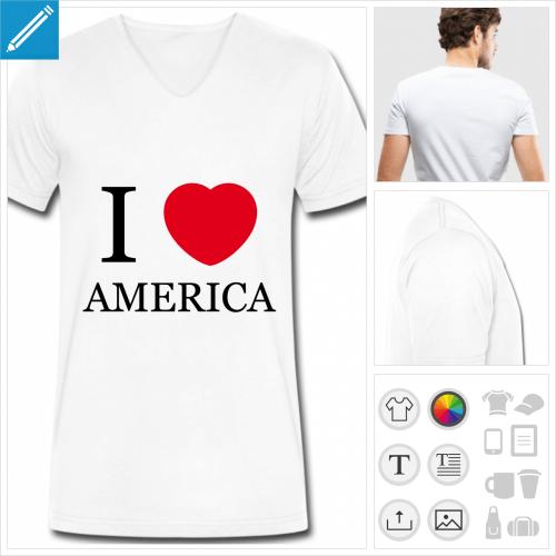 t-shirt homme I love America à créer soi-même
