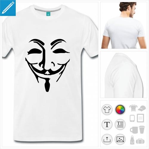 T-shirt Anonymous, masque Anonymous transparent à personnaliser et imprimer en ligne.
