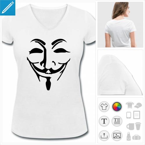 t-shirt femme basique masque fawkes personnalisable, impression à l'unité