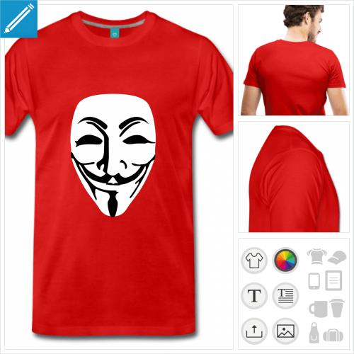 T-shirt Anonymous, masque opaque deux couleurs à imprimer en ligne.