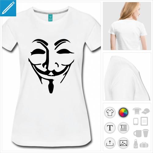 t-shirt simple masque fawkes à créer en ligne