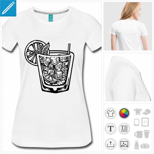 T-shirt apéro à personnaliser en ligne, blague mojito ergo sum.