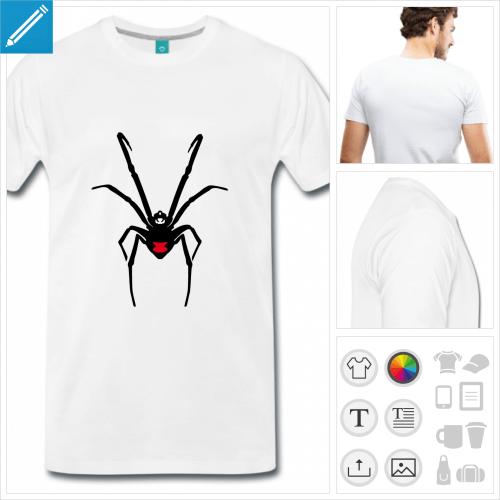 T-shirt araignée, veuve noire aux pattes écartées à imprimer en ligne.