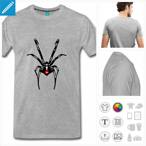 t-shirt black widow personnalisable, impression à l'unité