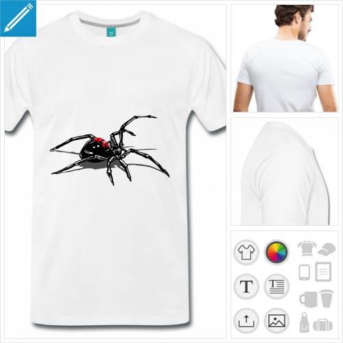 T-shirt araignée en position d'attaque, créez votre t-shirt araignée en ligne.
