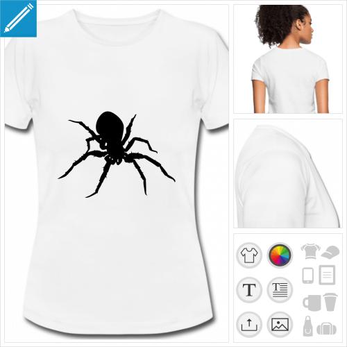 t-shirt blanc simple araignée à créer en ligne