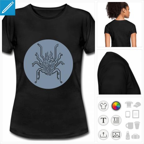 t-shirt noir basique araignée nerd à imprimer en ligne