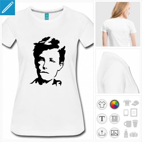 t-shirt femme Arthur Rimbaud à personnaliser