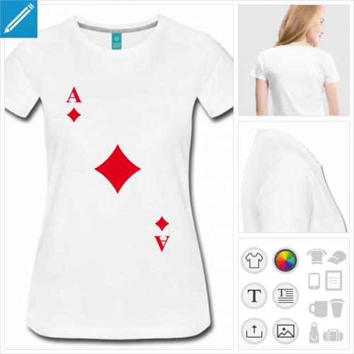 t-shirt simple carte carreau à personnaliser en ligne