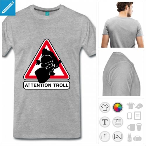 T-shirt attention troll, panneau troll à personnaliser et imprimer en ligne.