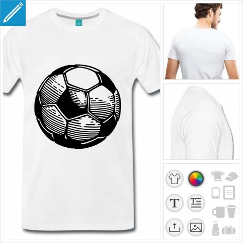 T-shirt ballon, ballon de foot stylisé dessiné en aplats et rayures.