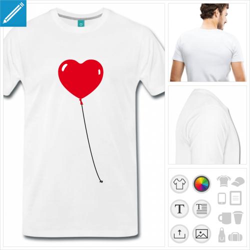 T-shirt ballon coeur à personnaliser et imprimer en ligne. Choisissez vos couleurs.