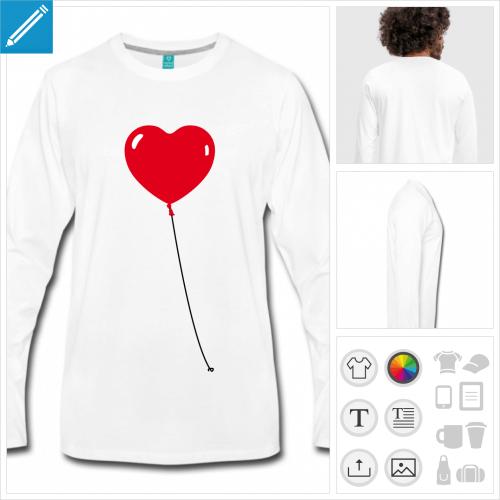 t-shirt homme coeur à créer en ligne