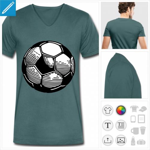 t-shirt col v football à personnaliser et imprimer en ligne