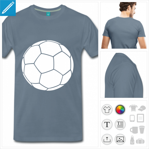 T-shirt ballon de foot, ballon simple blanc à la couleur personnalisable à impriemr sur t-shirt.