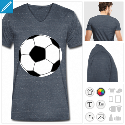t-shirt bleu foot à personnaliser