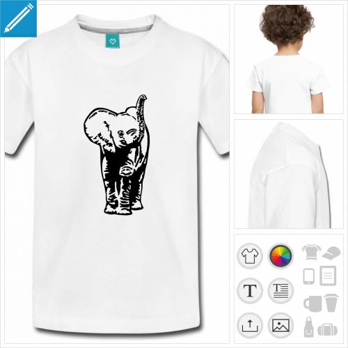 t-shirt blanc bébé éléphant à personnaliser, impression unique